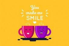 微笑的红色紫色咖啡杯黄色背景