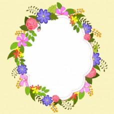 色彩鲜艳的鲜花装饰优雅的框架设计