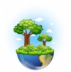 创意绿色大树生长地球悬浮背景插图