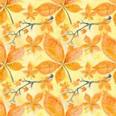 水彩黄叶背景图片