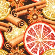 香料和水果背景