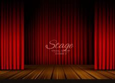 红色幕布木板舞台背景