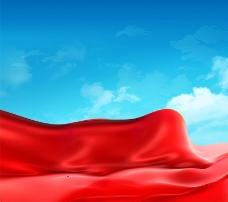大红飘带红丝带红带飘飘蓝天背景
