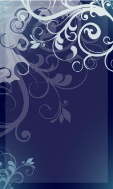 手绘白色花纹蓝底背景