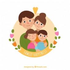 微笑家庭的圆形背景