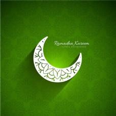 斋月绿色背景与月亮插图