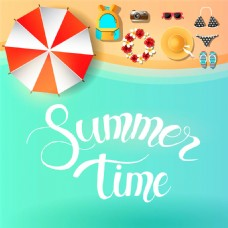 夏日沙滩卡通背景图片