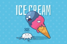 手绘风格漂亮冰淇淋蓝色背景