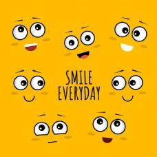 手绘各种创意微笑表情黄色背景