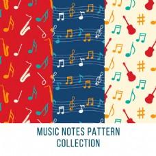 各种音符乐器装饰图案背景