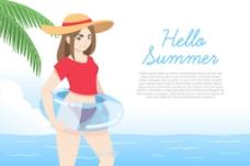 漂亮美女插图蓝色海滩背景