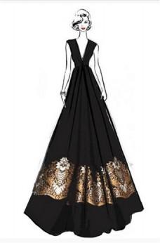 黑色深V花这礼服设计图