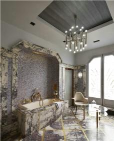 现代豪华别墅浴室装修效果图