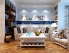 现代舒适客厅3D模型设计