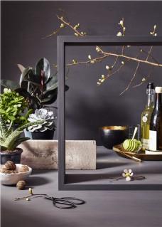 现代阳台盆栽和红酒图片