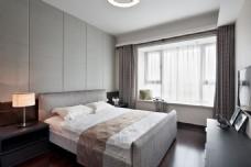 现代简约卧室大床窗户设计图