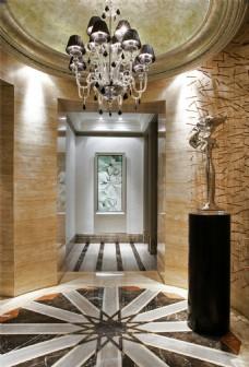 时尚室内走廊吊灯背景墙设计图