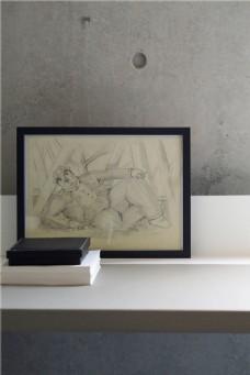 现代简约室内桌子照片书本设计图