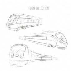 手绘三款高铁列车