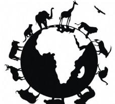 地球与动物剪影模板源文件宣传活