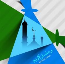 蓝色绿色斋月节图案宣传活动模板