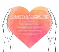 手握水彩桃形海报设计宣传活动模