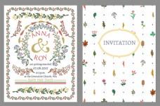 五颜六色的花草装饰花边婚礼邀请卡