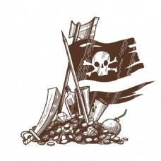 手绘海盗旗宝藏背景