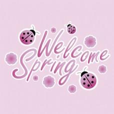 春天主题粉红色艺术字设计粉色背景