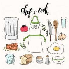 手绘围裙与食材各种厨具