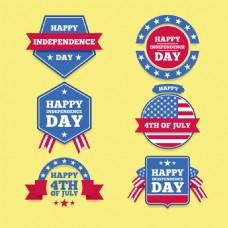 六个美国独立日标签图标
