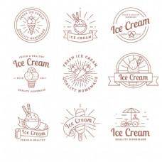 手绘冰淇淋冰激凌贴纸图标