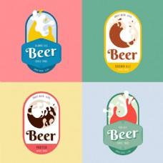 四个抽象风格啤酒贴纸标签