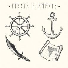 手绘素描风格海盗物品矢量素材