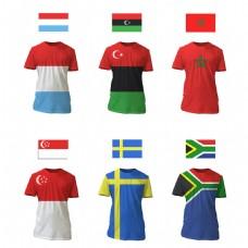 不同国家国旗T恤衫矢量素材