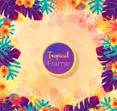 热带彩色植物花卉边框矢量素材