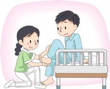 卡通护士照顾病人