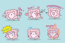卡通可爱肠胃扁平画矢量素材