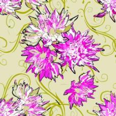 杜鹃卡通水墨矢量花朵纹理背景素材