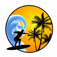 冲浪者椰树圆形夏天背景