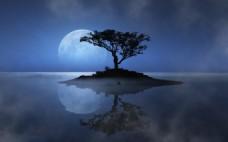 蓝色月光背景