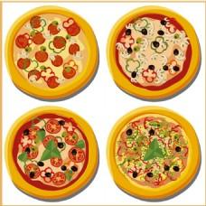 各种口味披萨矢量图
