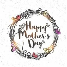母亲节快乐,心中装饰圆框,创意手绘贺卡设计