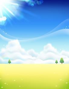 清新阳光草原背景