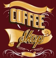 黄色咖啡店标牌背景图