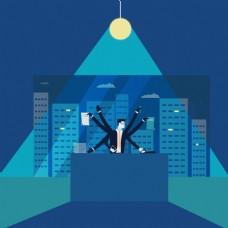 多任务商人角色高楼大厦剪影蓝色背景