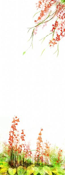 简约红色花儿展板背景