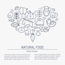 爱心卡通食物素材图标标签矢量素材