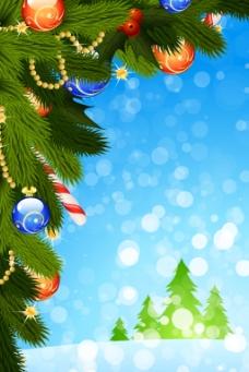 圣诞树枝圆球蓝底背景