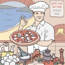 手绘厨房背景厨师展示比萨饼